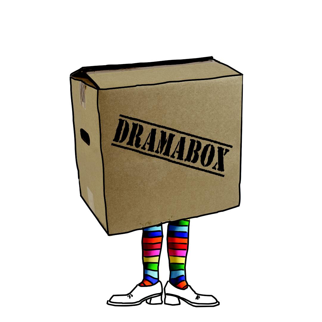 dramabox logo kiste mit Dramaboxschriftzug und Beinen